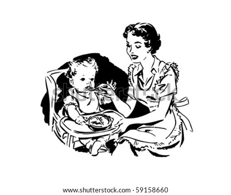Mother Feeding Baby - Retro Clip Art
