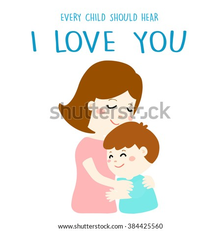 mother gently hug her son and tell him I love you vector illustration - stock vector