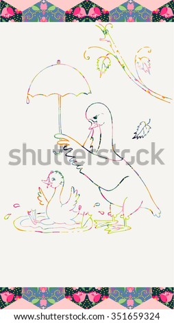 Mother-goose holds an umbrella over her son who bathes. Colorful ornamental lines. Patchwork frame. Vector illustration.  - stock vector