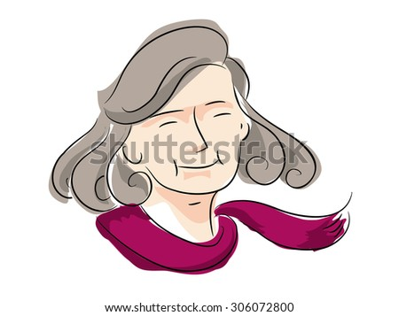 mother, grandmother, old lady vector drawing on white background, illustrate eps10 - stock vector