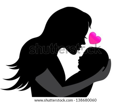 mother holding a young child. Near the heart symbolizing the mother's love  - stock vector