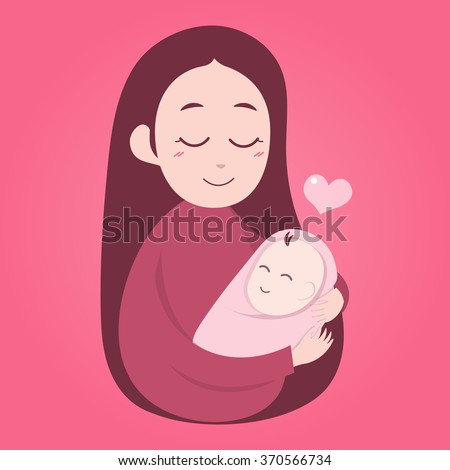 Mother holding cute baby. Happy Mothers' day. Vector illustration - stock vector