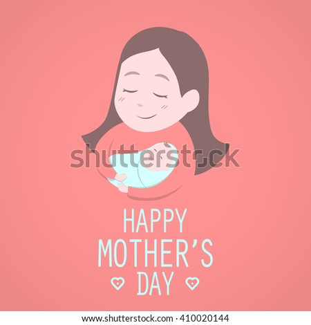 Mother holding cute baby. Happy Mothers' day. Vector illustration