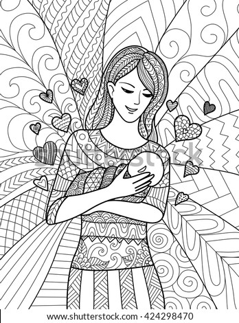 Mother holding her baby, clean line doodle art design for coloring book for adult, cards and so on - stock vector