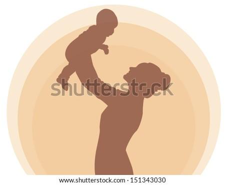 Mother holding newborn baby child symbol