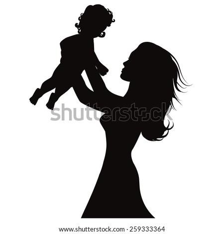 Mother holding up baby silhouette EPS 10 vector royalty free stock illustration for greeting card, ad, promotion, poster, flier, blog, article, social media, marketing - stock vector