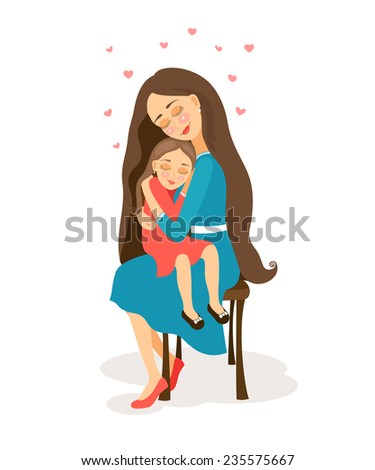 Mother hugs little daughter. Vector illustration about love.
