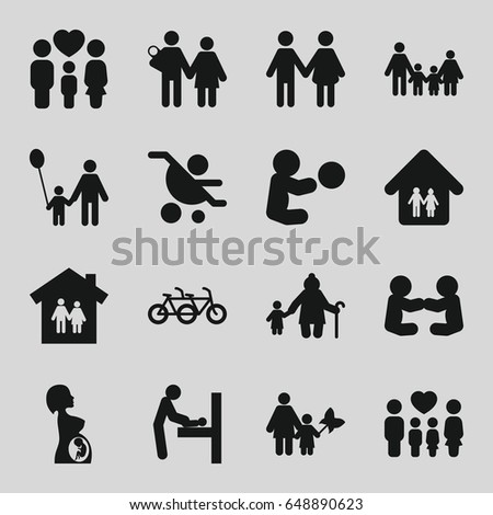 Mother Icons Set Set 16 Mother Stock Photo Photo Vector