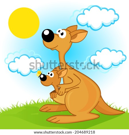 mother kangaroo with baby  - vector  illustration, eps - stock vector