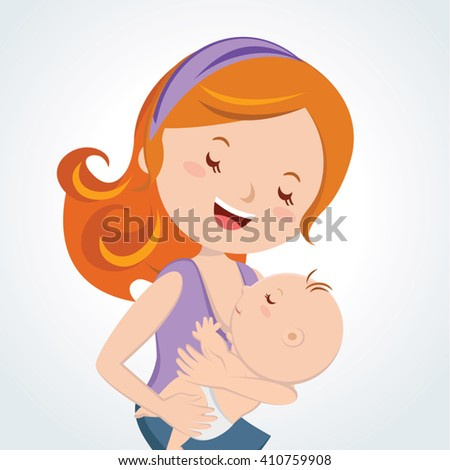 Mother love. Vector illustration of m a mother breastfeeding her baby. - stock vector