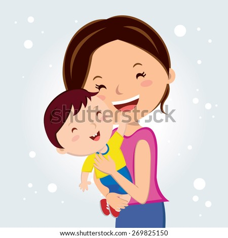 Mother love. Young mother carry her child. Happy Mothers' Day! - stock vector