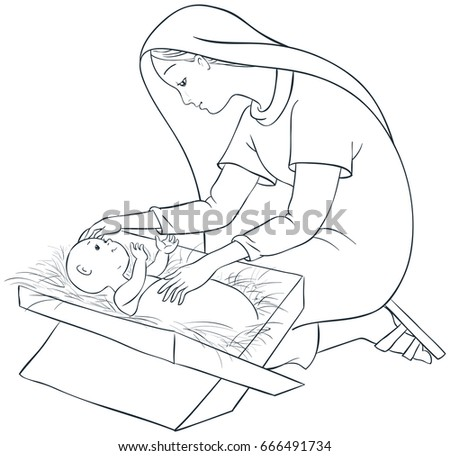 Mother Mary With Child Jesus In The Manger Coloring Page Also Available Colored Version