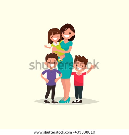 Mother of many children with a daughter and two sons. Vector illustration of a flat design