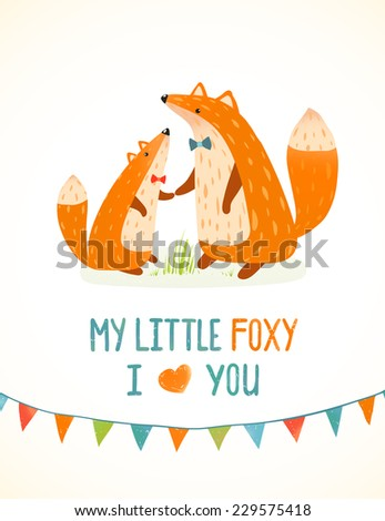 Mother or Father Fox and Foxy Child Cartoon Illustration. Cute red animals parent love. Vector illustration. - stock vector