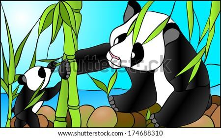 Mother panda and her baby / stained glass window - stock vector
