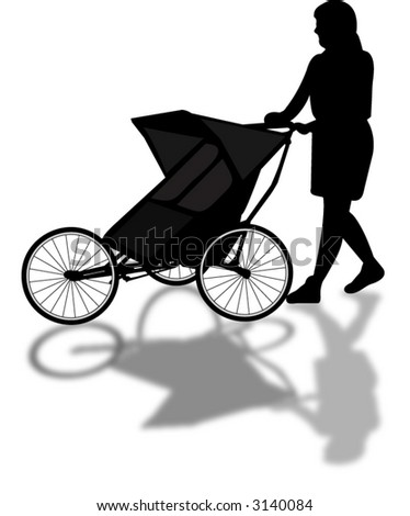 mother pushing baby cart