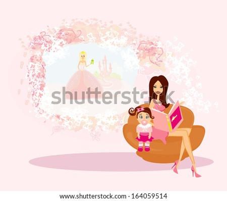 Mother reading a fairy tale to her daughter - stock vector
