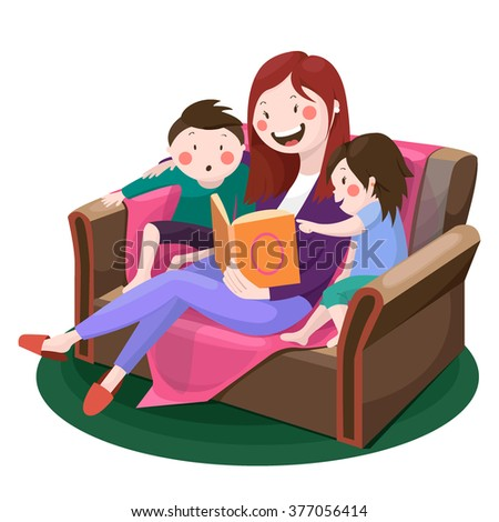 mother reading a story to children , happy family , fairy tale, vector graphics - stock vector