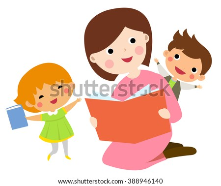 Mother reading book to her children - stock vector