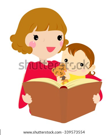 Mother reading her daughter the story. Vector illustration. - stock vector