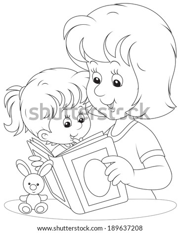 Mother reads a book to her daughter - stock vector