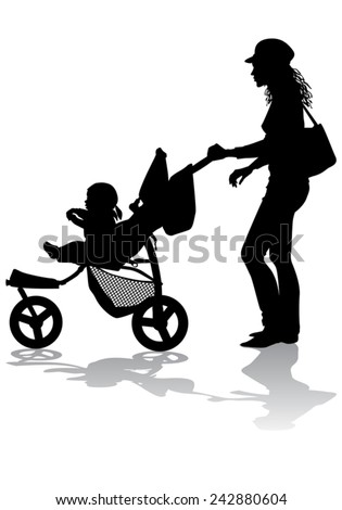 Mother rolls the baby in the stroller for a walk  - stock vector