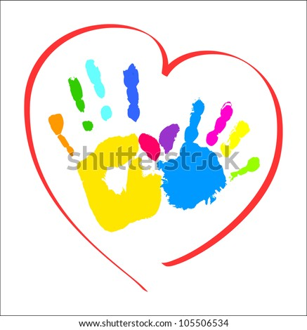Mother's and kid's hands in a heart - stock vector