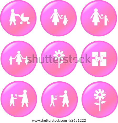 mother's day button set - stock vector