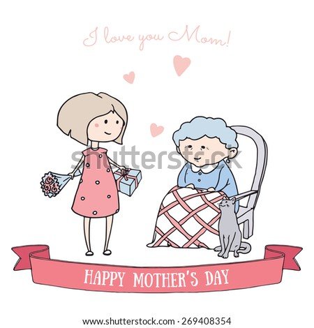 Mother's Day. Girl holding flowers and gift, her mother siting in a chair and cute cat. Background with hearts. Hand drawn vector illustration. - stock vector