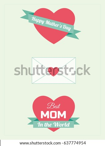 Mother's Day greeting cards, Red heart shaped and green ribbon vector