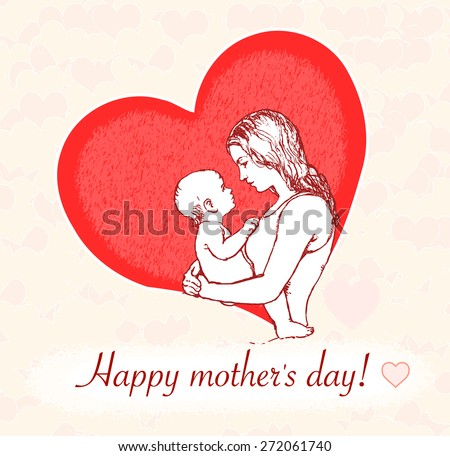 Mother's day greetings: young mother holding her baby drawing in profile  - stock vector