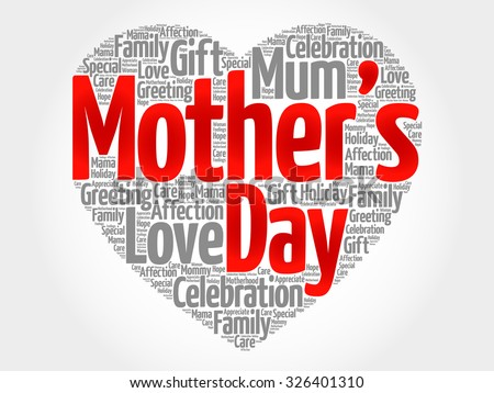 Mother's day heart word cloud - stock vector