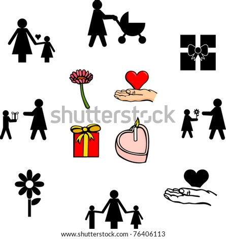 mother's day illustrations and symbols set