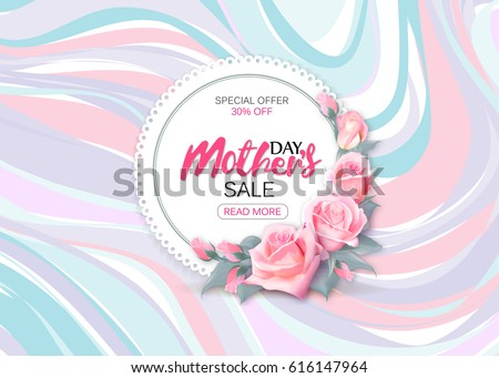 Mother's day sale background with beautiful pink roses on marble background. Vector illustration template banners. Wallpaper flyers, invitation, posters, brochure, voucher discount.