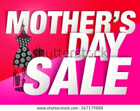 "Mother""s day Sale design (Paper Folding Design)  for promotion, poster, flier, blog, article, social media, marketing, flyer, web page, signage  - stock vector"
