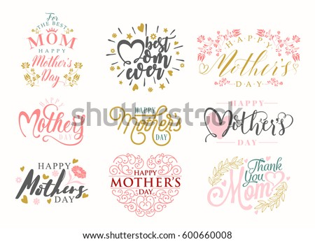 Mother's Day Typographical Vintage Set collection