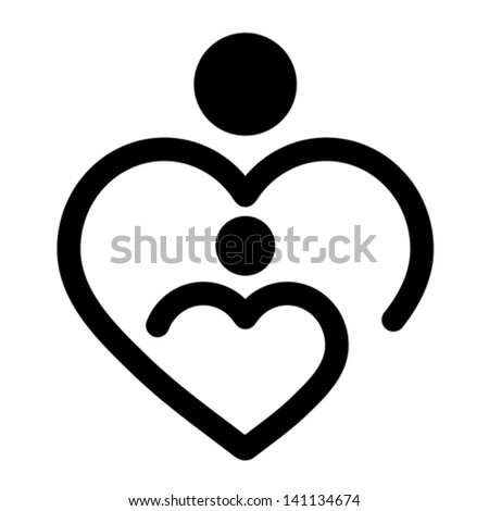 Mother's heart, vector - stock vector