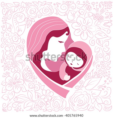 Mother silhouette with her baby. Card of Happy Mothers Day. Vector illustration with beautiful woman and child. Logotype or mascot emblem symbol. It can be used for wallpaper,fabric, paper,postcards. - stock vector