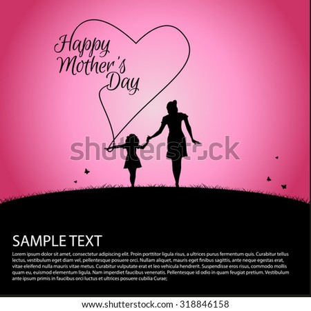 Mother silhouette with her baby on happy Mothers Day  - stock vector