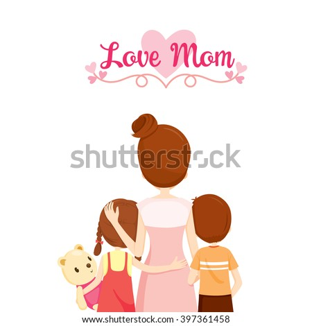 Mother, Son And Daughter Hugging Together, Family, Embracing, Parent, Offspring, Love, Relationship - stock vector