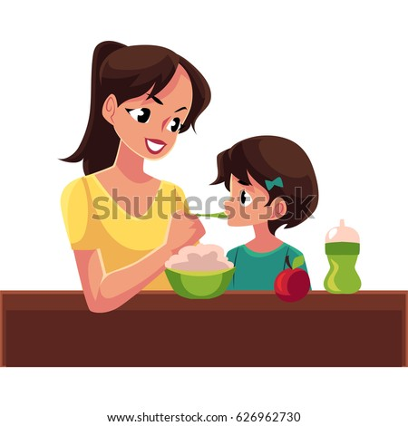 Mother spoon feeding her little daughter sitting at the table, cartoon vector illustration isolated on white background. Portrait of mother feeding her daughter with porridge sitting at the table