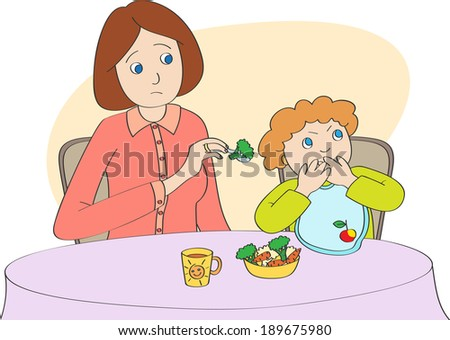 Mother spoon-feeds the child, but child does not want to eat - stock vector