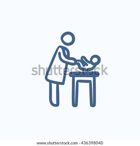 Mother taking care of baby vector sketch icon isolated on background. Hand drawn Mother taking care of baby icon. Mother taking care of baby sketch icon for infographic, website or app. - stock vector
