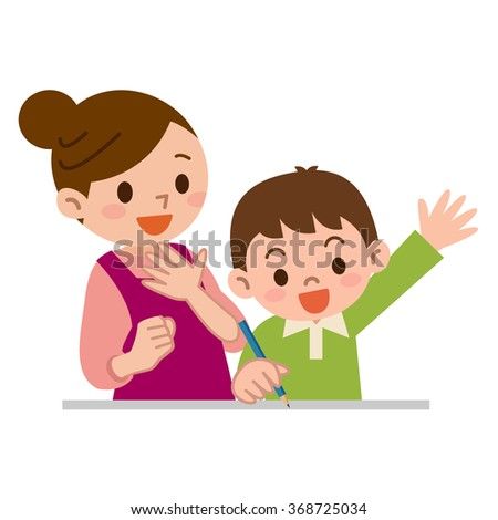 Mother to teach study to children - stock vector
