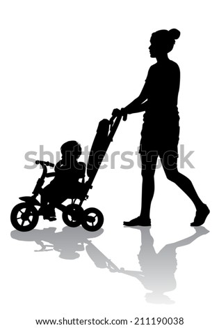 Mother walks with the kids and a stroller  - stock vector