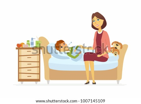 Mother ill boy cartoon people characters stock vector 1007145109 mother with an ill boy cartoon people characters illustration on white background a young thecheapjerseys Choice Image