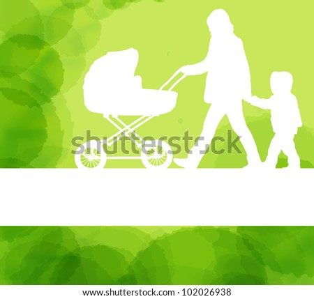 Mother with baby carriage and kid vector background - stock vector