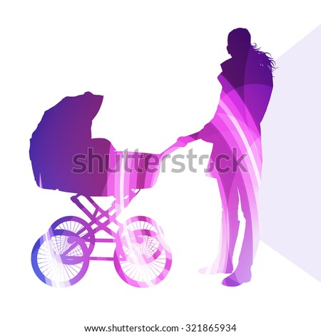Mother with baby strollers, carriage walking woman silhouette illustration vector background colorful concept made of transparent curved shapes