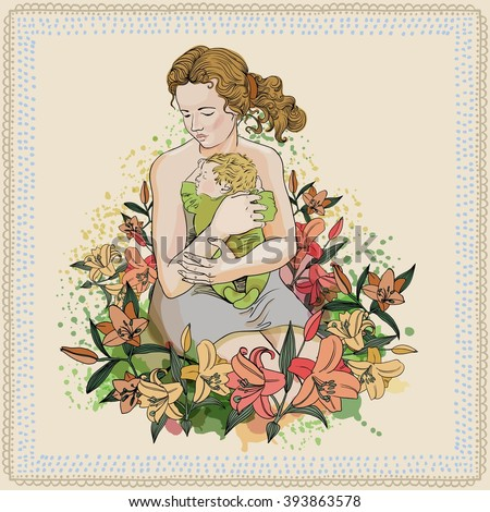 Mother with baby. Watercolor texture. Vector. - stock vector