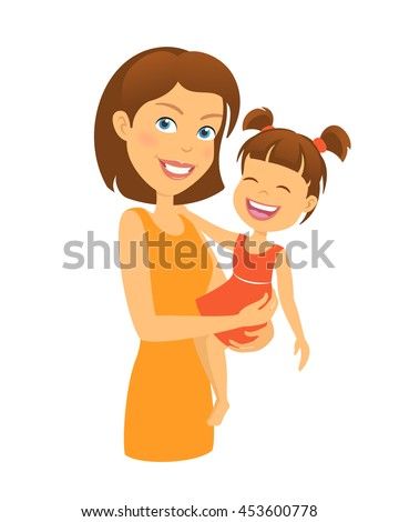 Mother with child. Happy family. Mother and daughter - stock vector